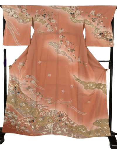 訪問着 ピンク 草花 松竹梅 有職文様 雲 エ霞 金彩 正絹 袷 Lサイズ