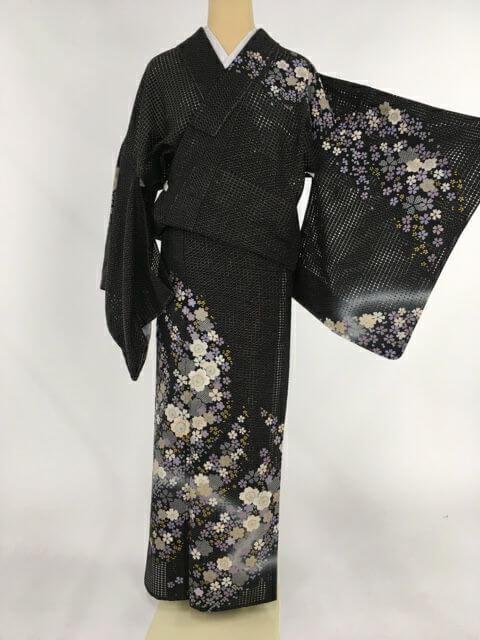 訪問着 黒 総汕頭刺繍 桜尽くし 金糸 金彩 夏 正絹 単衣 Lサイズ