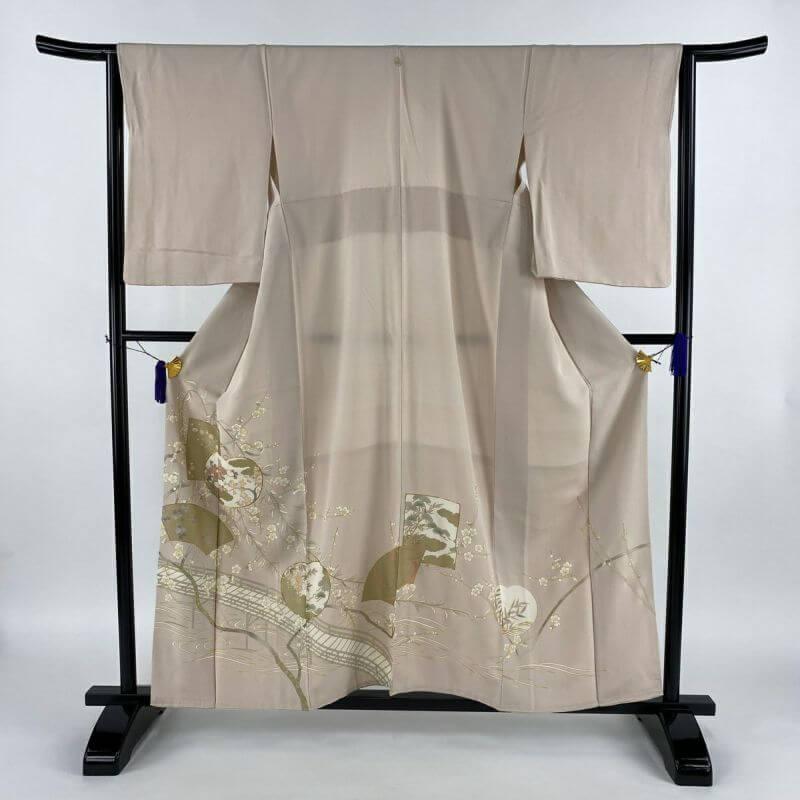 色留袖 名品 一つ紋 団扇 草花 金糸 金彩 薄ピンク 袷 身丈157.5cm 裄丈65cm M 正絹