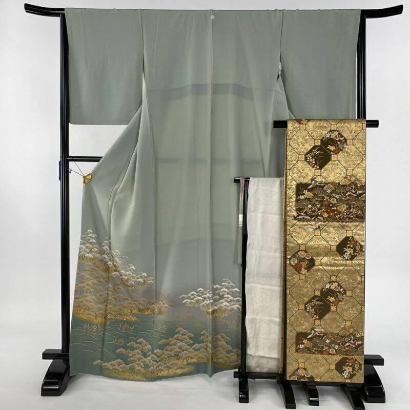 色留袖 美品 秀品 袋帯フルセット 一つ紋 笠松 藤 金糸 金彩 薄緑 袷 身丈167cm 裄丈65cm M 正絹