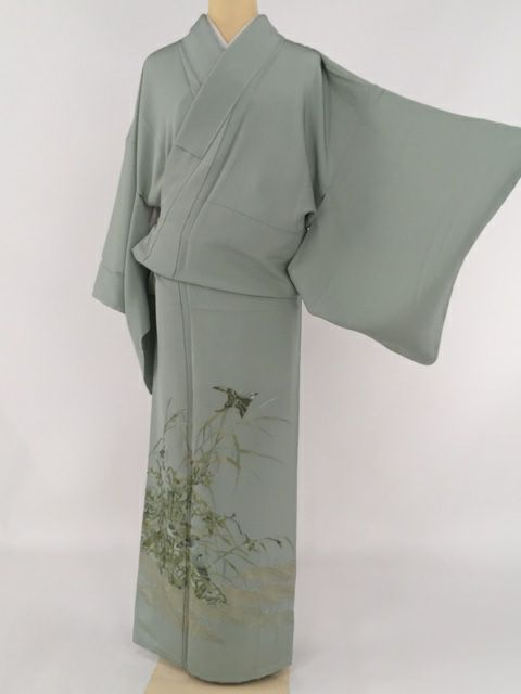 色留袖 薄緑色 一つ紋 山口美術織物 草花 鳥 刺繍 正絹 袷 Lサイズ